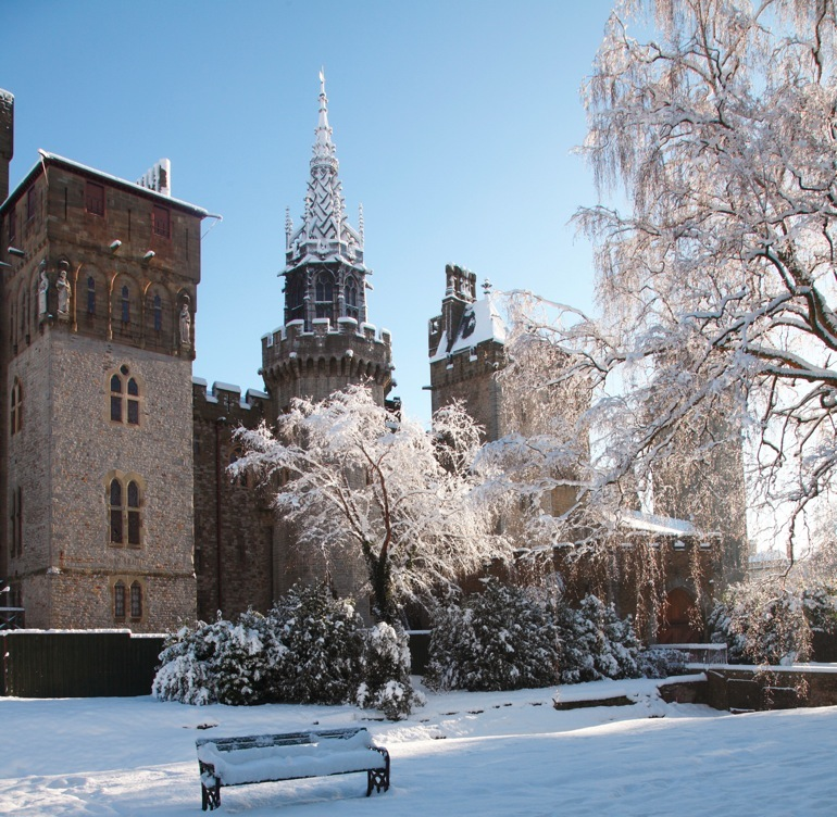 Cardiff Castle with snow